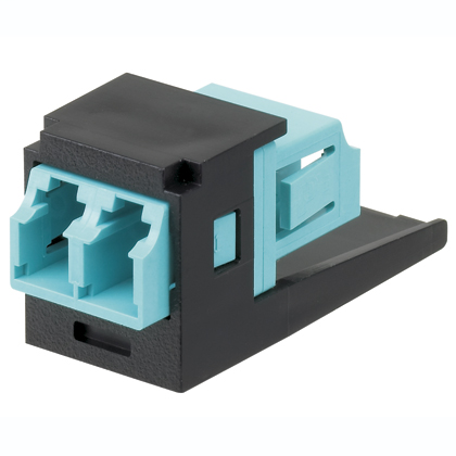 Mayer-Mini-Com® LC Adapter Module, Multimode Duplex, Aqua, Black-1
