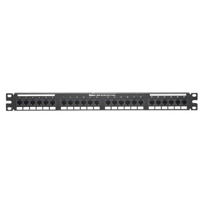Mayer-Cat 6 Punchdown Patch Panel, 24 Ports, 1 RU, Black-1