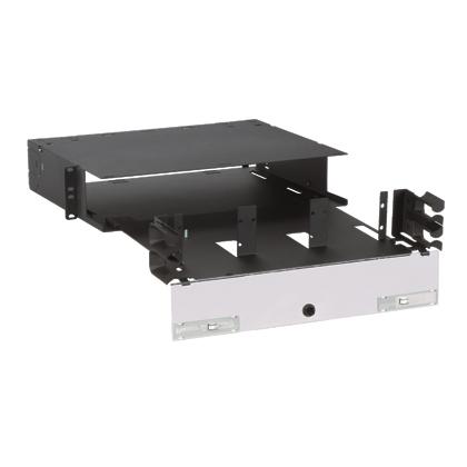 Mayer-Opticom® Rack Mount Fiber Enclosure, Black, 2 RU, 6 Ports-1