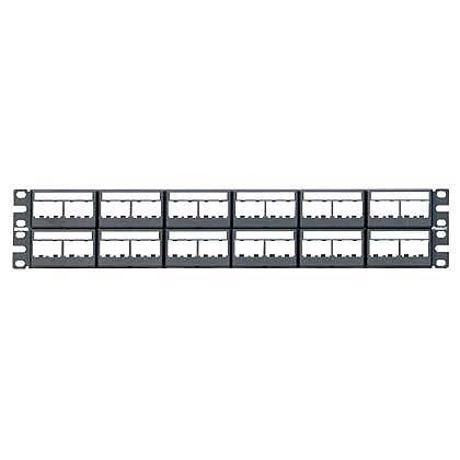 Mayer-Mini-Com® Patch Panel w/labels, 48 Port, 2 RU, BL-1