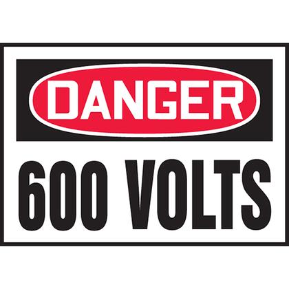 """3.50"""" x 5.00"""" DANGER 600 VOLTS 5/PK"""