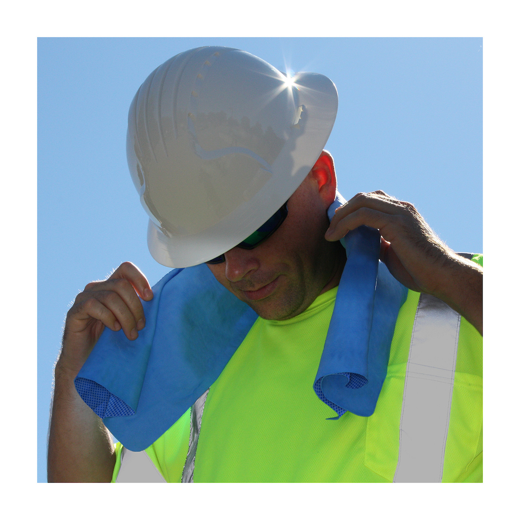 PIP 396-602-B Blue Polyvinyl Alcohol Outer Evaporative Safety Cooling Towel