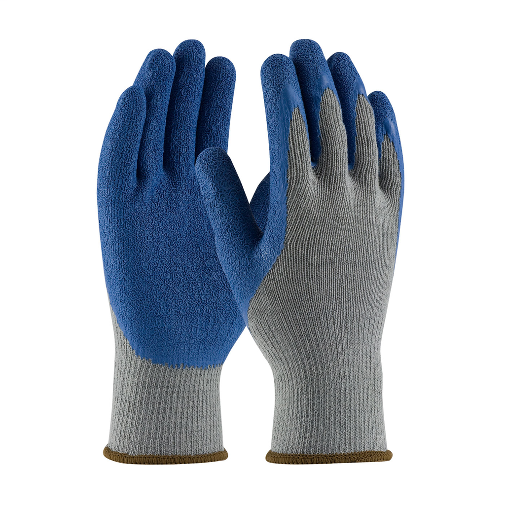 PIP 39-C1305/L Large Blue Latex Crinkle Palm and Fingertip Coated Knit Protective Gloves