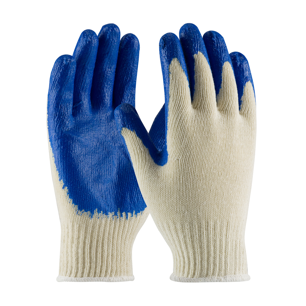 PIP 39-C122/L Large Blue Latex Smooth Palm and Fingertip Coated Knit Protective Gloves