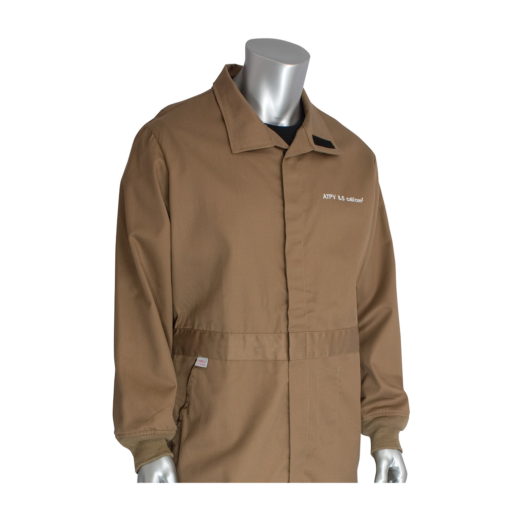 PIP 9100-2110D/XL 8 CAL FR DUALCERT. 7OZ. COVERALL, BUG REPEL,NFPA 70E & 2112, TAN LIKELY SUBJECTTO TAX