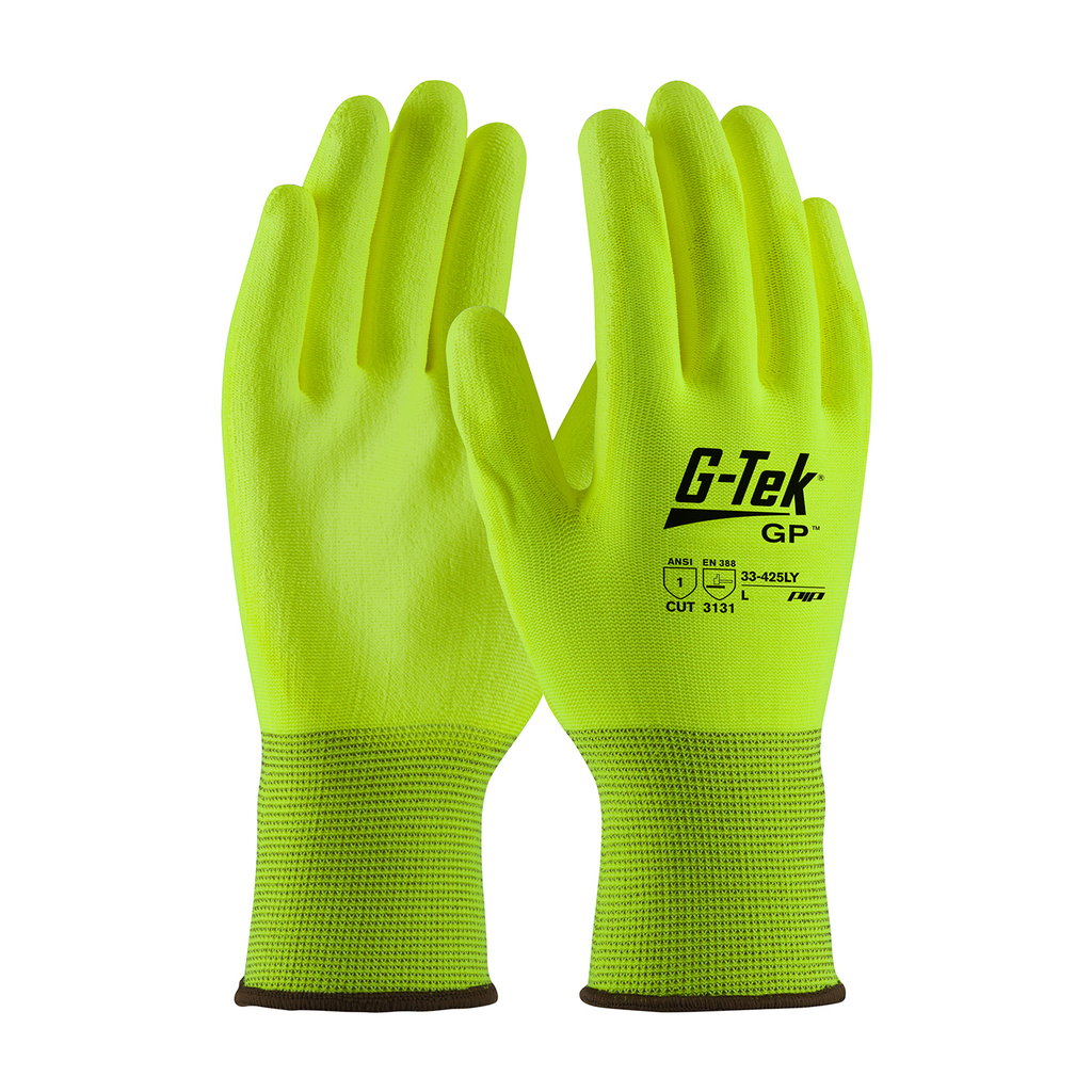 PIP 33-425LY/L G-Tek Hi-Vis Yellow Urethane Coated Palm and Fingers on Seamless Knit Nylon Purchased per Dozen Gloves