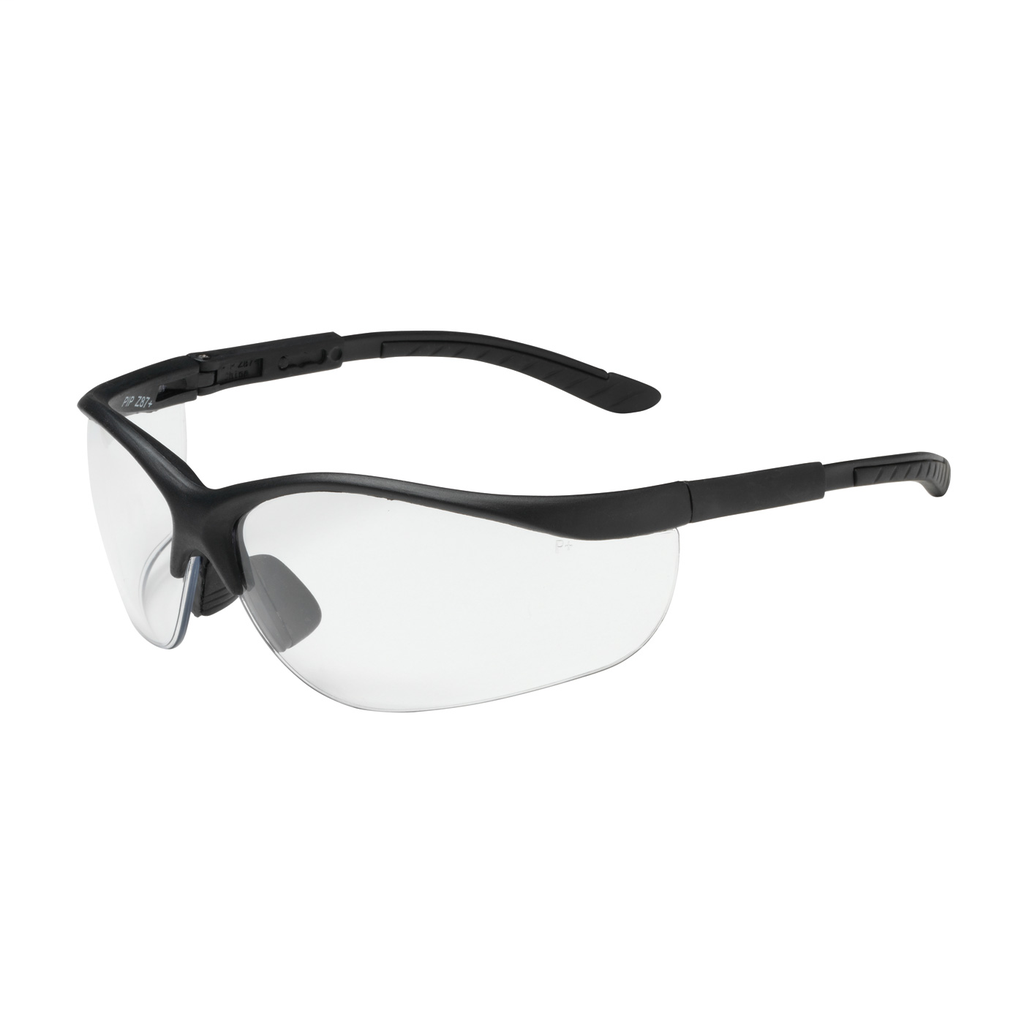 PIP 250-21-0400 Black Frame Clear Lens Anti-Scratch Coated Narrow Safety Glasses