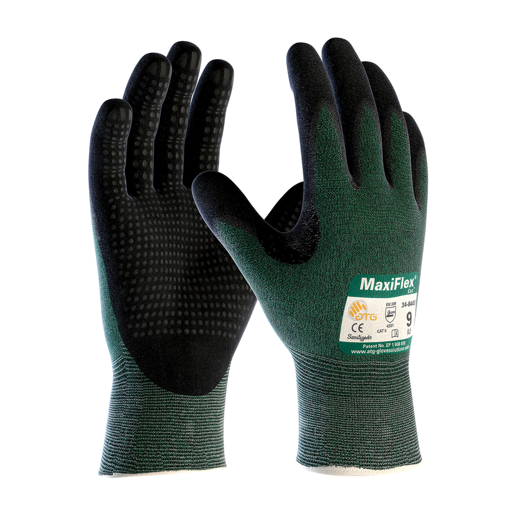PIP 34-8443/L Large Black Nitrile Micro Foam Palm Fingertip and Micro Dot Palm Coated Knit Protective Gloves
