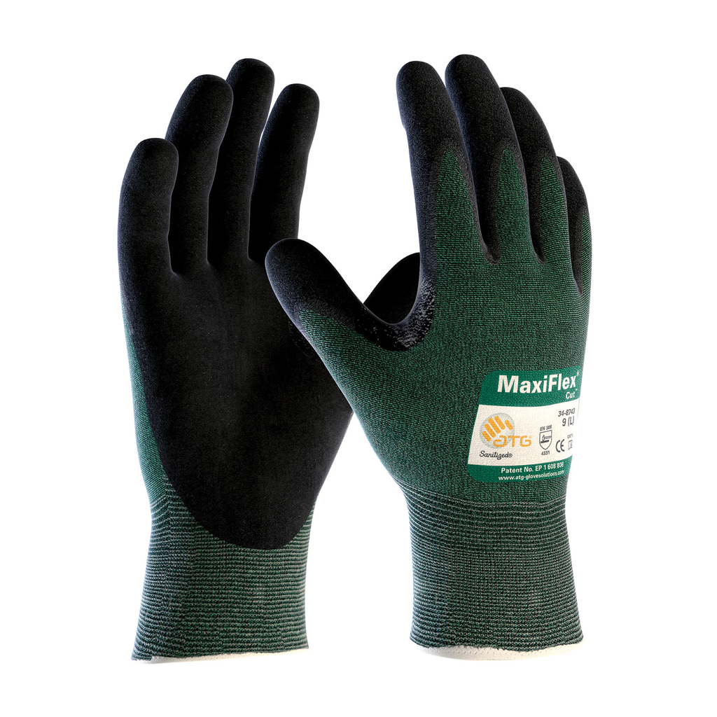 PIP 34-8743/S Small Green Cut 2 Non Touch Screen Compatible Nitrile Coated Micro Foam Grip Knit Cut Resistant Glove