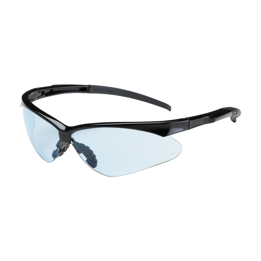 PIP 250-28-0003 Black Frame Light Blue Lens Anti-Scratch Coated Round Safety Glasses