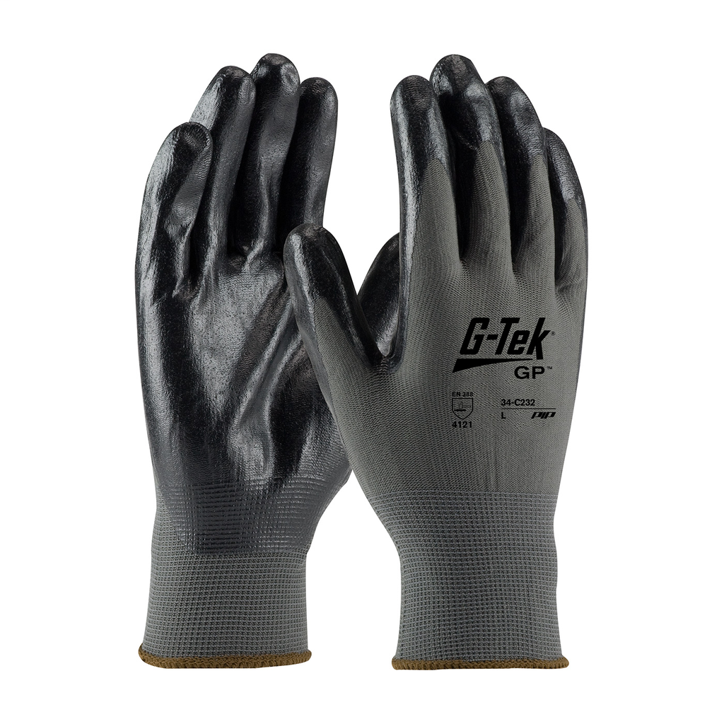 PIP 34-C232/M Medium Black Nitrile Micro Foam Palm and Fingertip Coated Knit Protective Gloves