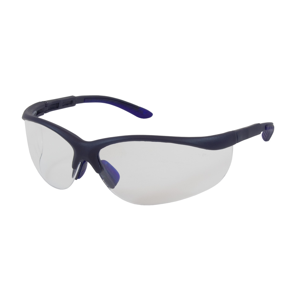 PIP 250-21-0120 Blue Frame Clear Lens Anti-Scratch/Anti-Fog Coated Narrow Safety Glasses