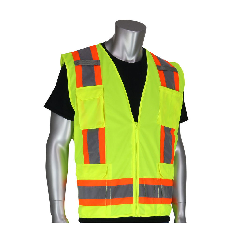 PIP 302-0500-YEL/2X Yellow 2XL ANSI Class 2 Two-Tone Six Pocket Surveyors Vest with Solid Front and Mesh Back