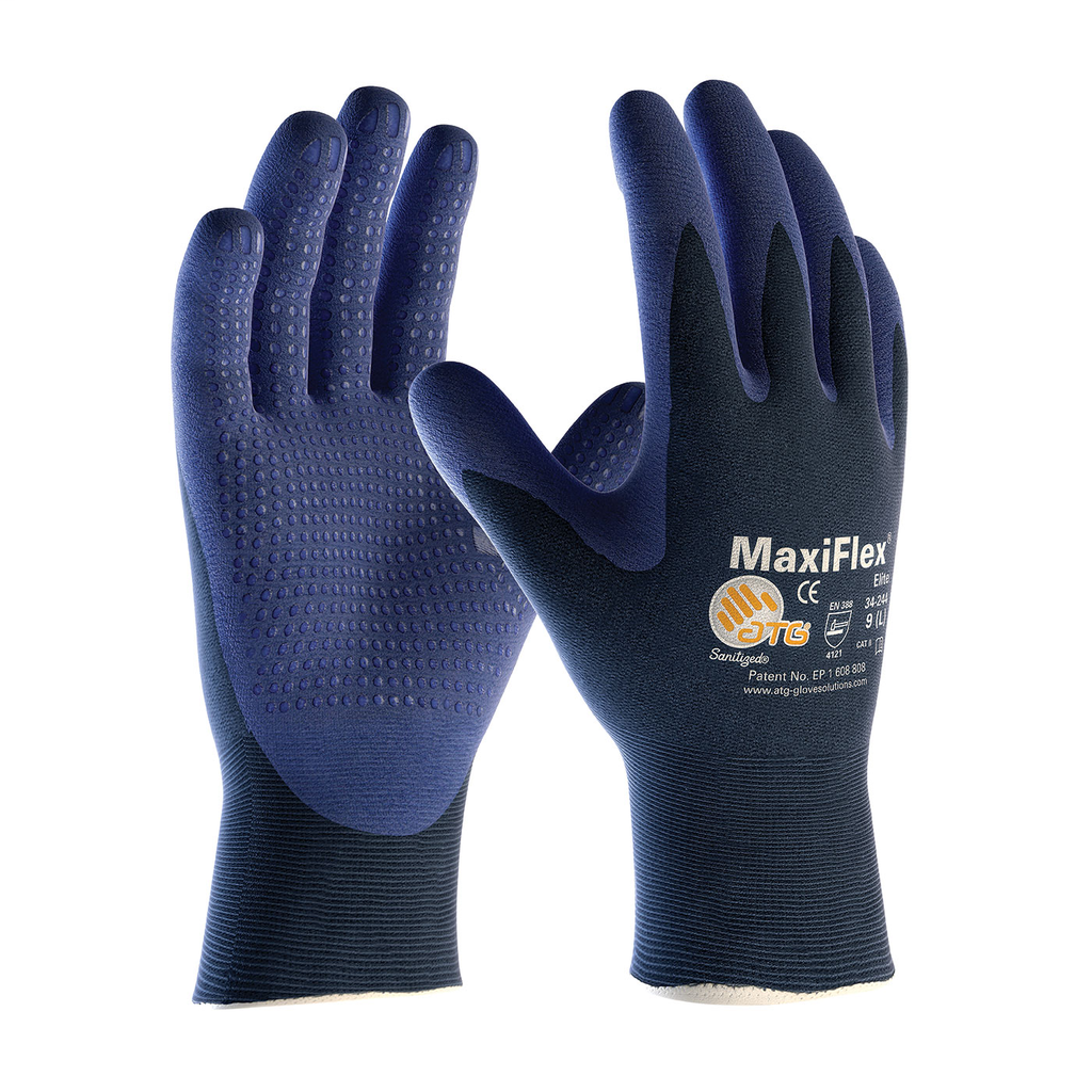 PIP 34-244/XL Extra Large Blue Nitrile Micro Foam Palm and Fingertip Coated Knit Protective Gloves
