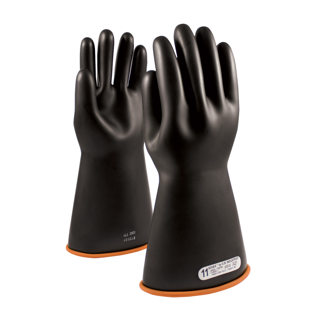 PIP 155-1-14/12 NOVAX INSULATINGGLOVE, CLASS 1, 14 IN., BLK./ORN.,STRAIGHT CUFF LIKELY SUBJECT TO TAX