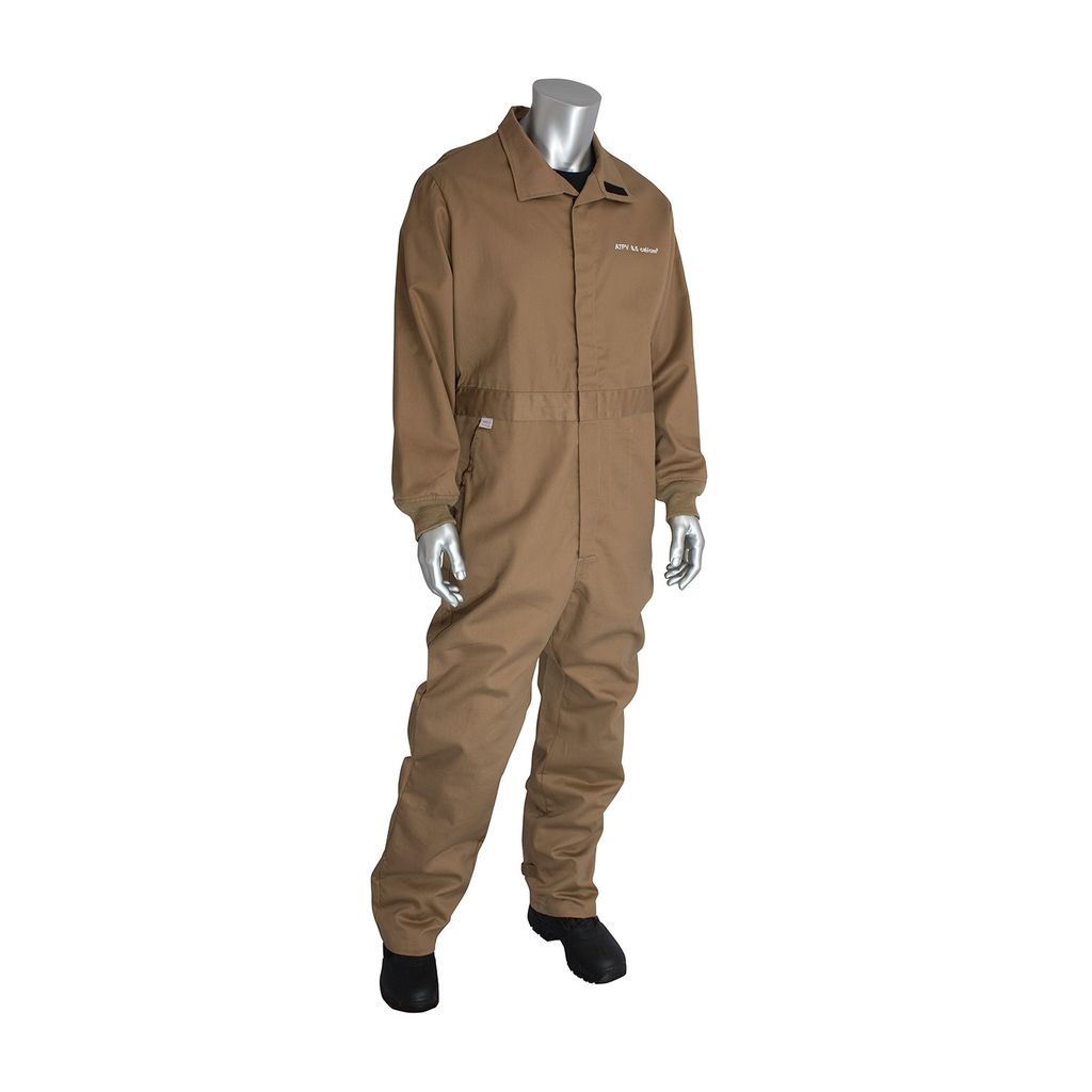 PIP 9100-2100D/L 8 CAL FR DUALCERT. 7OZ. COVERALL, VENTED BACK,NFPA 70E & 2112, TAN LIKELY SUBJECTTO TAX