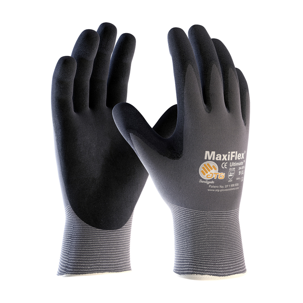PIP 34-874/L Large Black GP Non Touch Screen Compatible Nitrile Micro Foam Palm and Fingertip Coated Knit Protective Gloves