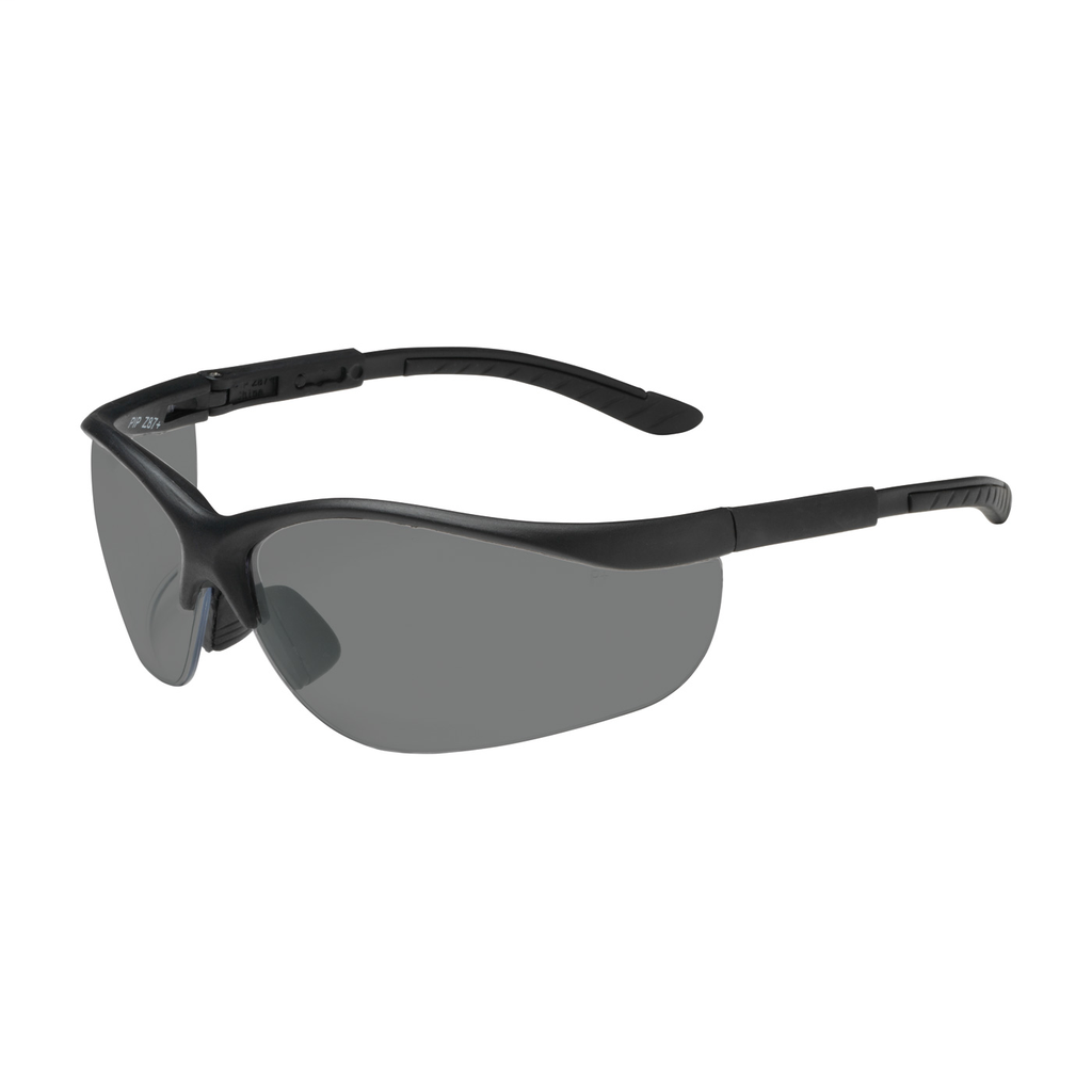 PIP 250-21-0401 Black Frame Gray Lens Anti-Scratch Coated Narrow Safety Glasses