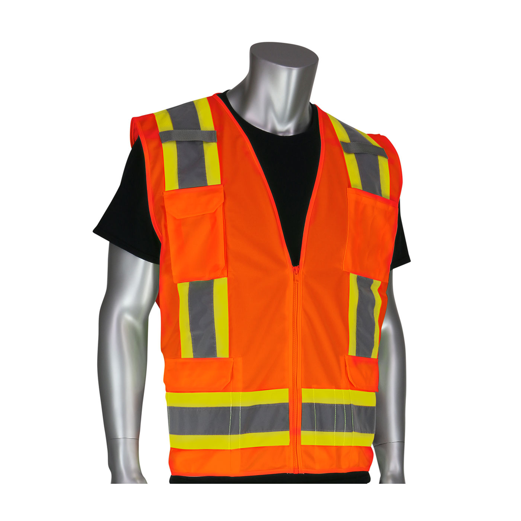 PIP 302-0500-ORG/XXL Double Extra Large Orange Mesh/Solid Fabric Zipper Closure Surveyor Vest