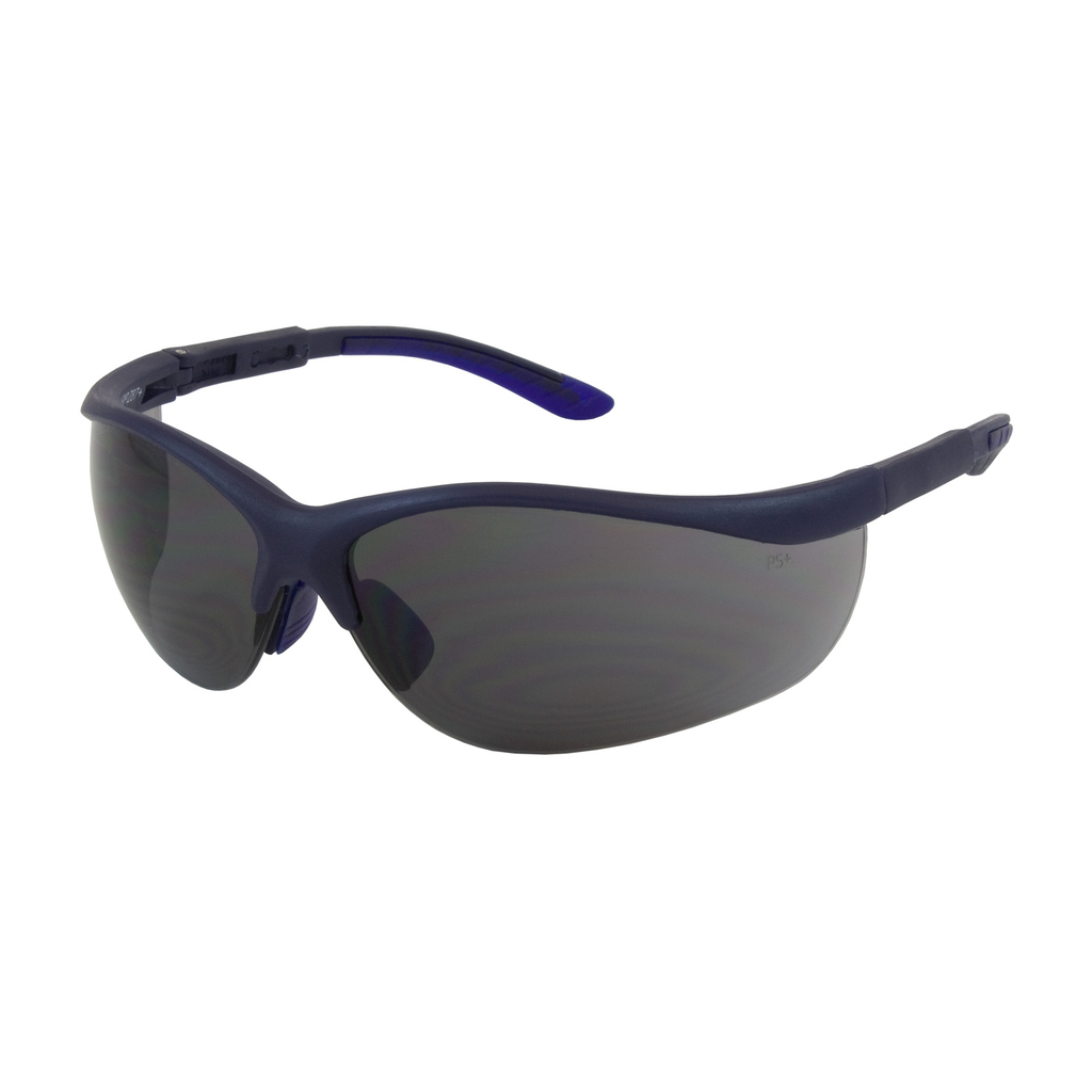 PIP 250-21-0101 Blue Frame Gray Lens Anti-Scratch Coated Narrow Safety Glasses