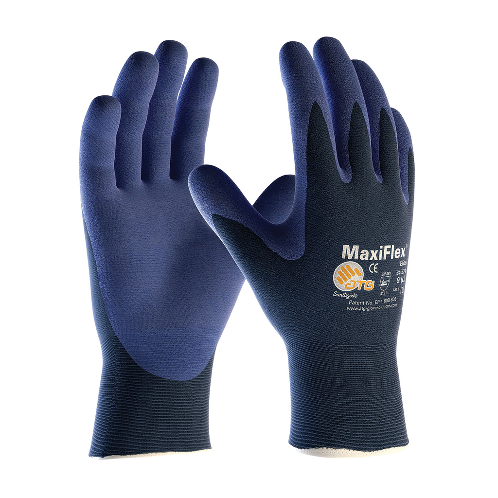 PIP 34-274/M Medium Blue Nitrile Micro Foam Palm and Fingertip Coated Knit Protective Gloves