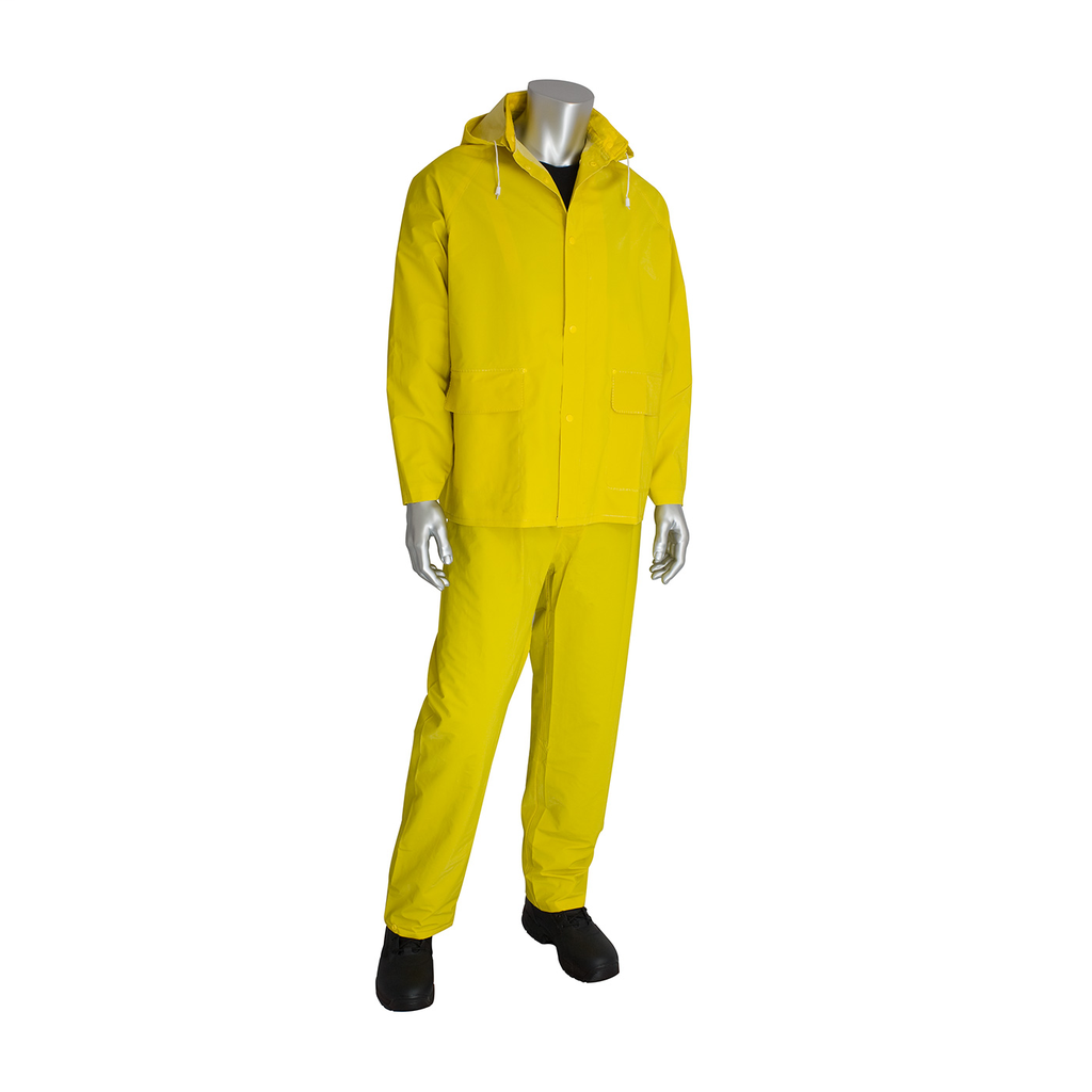 PIP 201-350X2 Double Extra Large Yellow PVC/Polyester Latex Crinkle Coated Grip 3-Piece Rainsuit