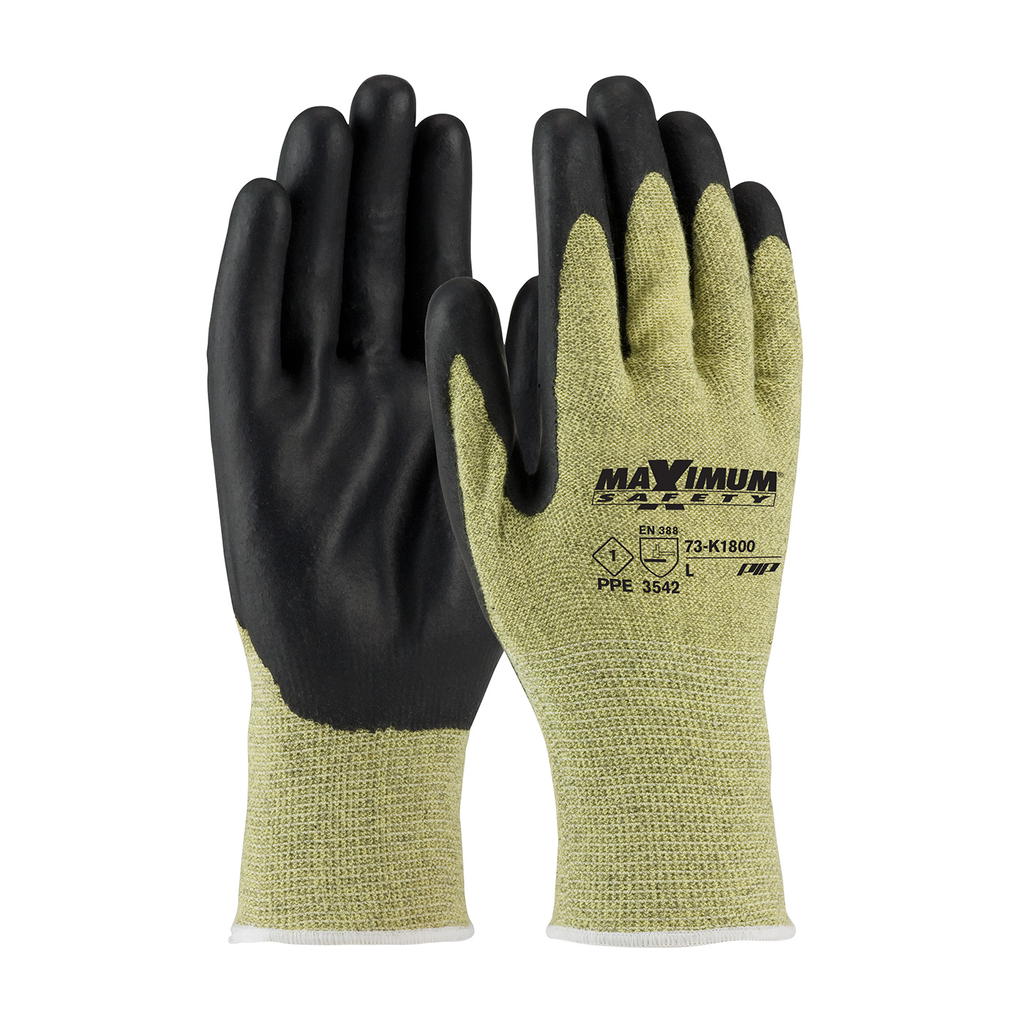PIP 73-K1800/M Medium Yellow/Black Unlined Flame Knit Wrist Cuff Hand Protective Gloves