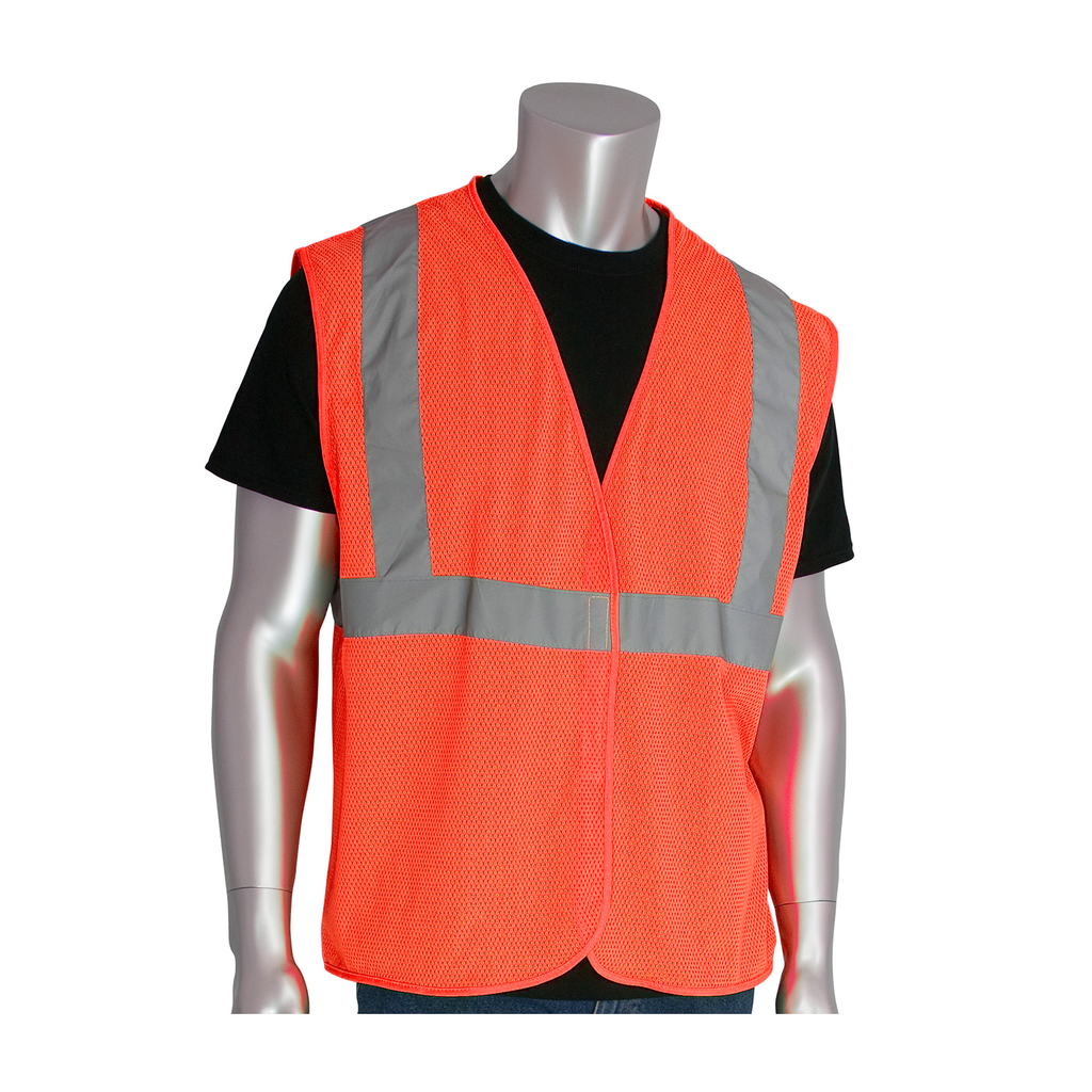 PIP 302-MVGOR-XL Extra Large Orange Mesh Fabric Hook and Loop Closure Everyday Value Safety Vest
