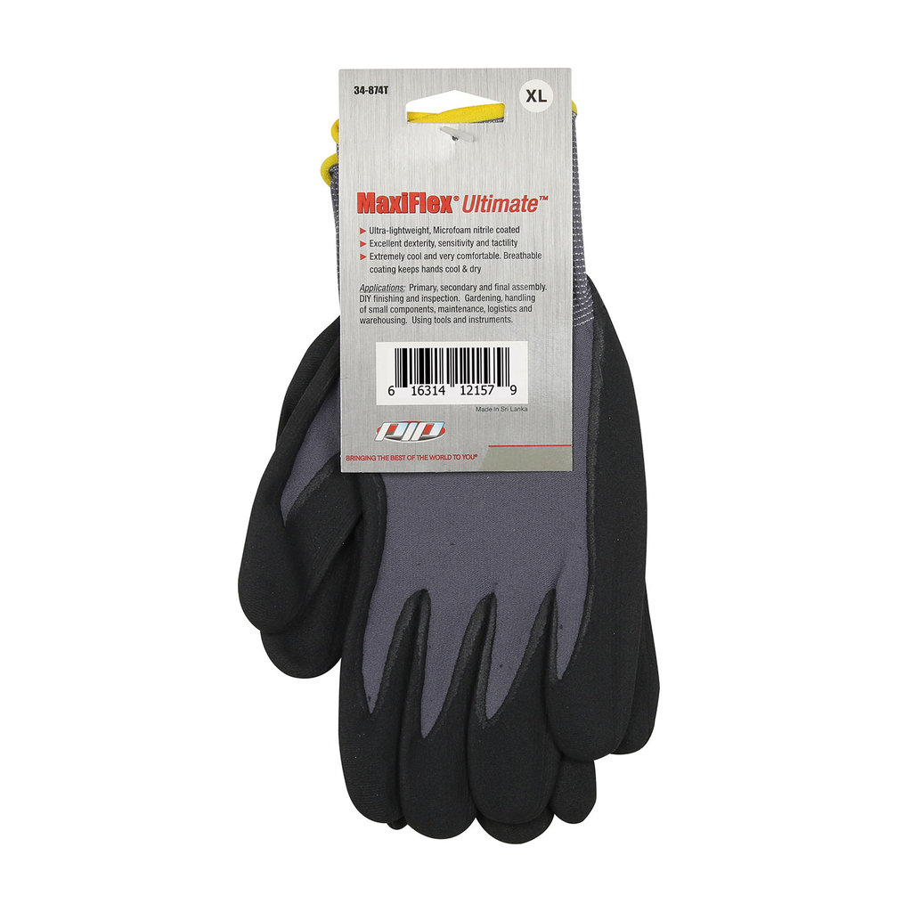 PIP 34-874T/XL MAXIFLEX ULTIMATE,15G GRAY NYLON SHELL, BLACK NITRILEGRIP, TAGGED LIKELY SUBJECT TO TAX