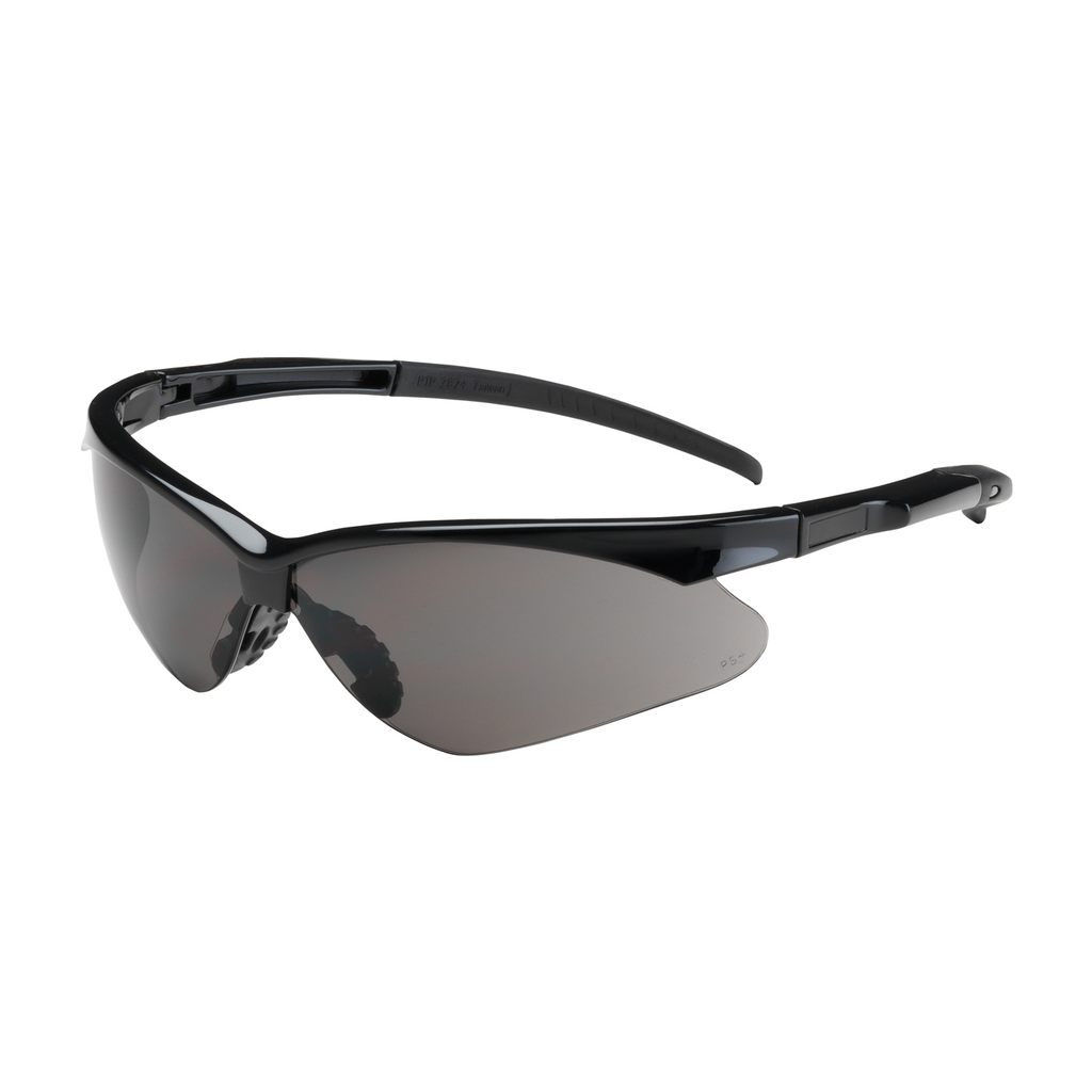 PIP 250-28-0001 Black Frame Gray Lens Anti-Scratch Coated Round Safety Glasses
