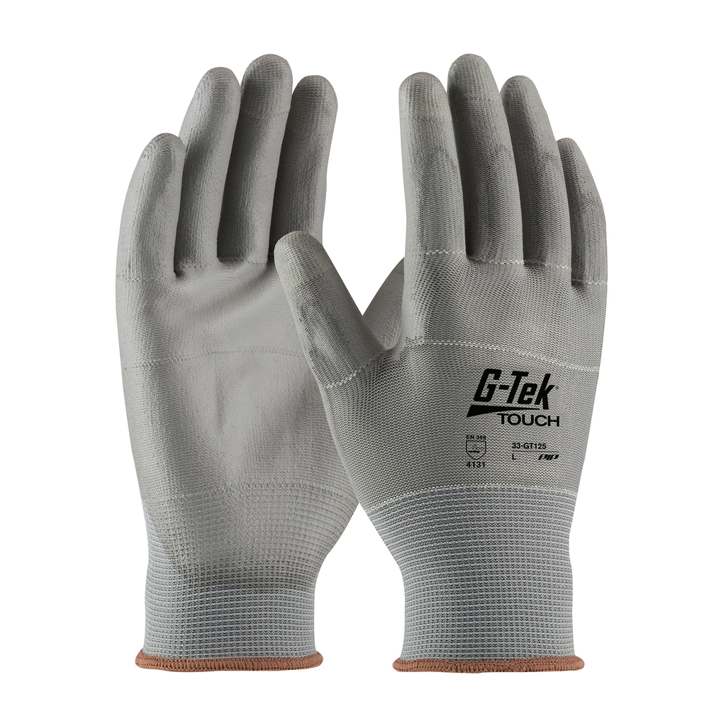 PIP 33-GT125/M Medium Gray Polyurethane Palm and Fingertip Coated Knit Protective Gloves