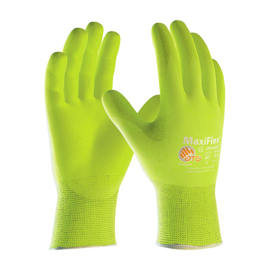 PIP 34-874FY/L G-Tek MaxiFlex Ultimate Nitrile Coated Palm Glove