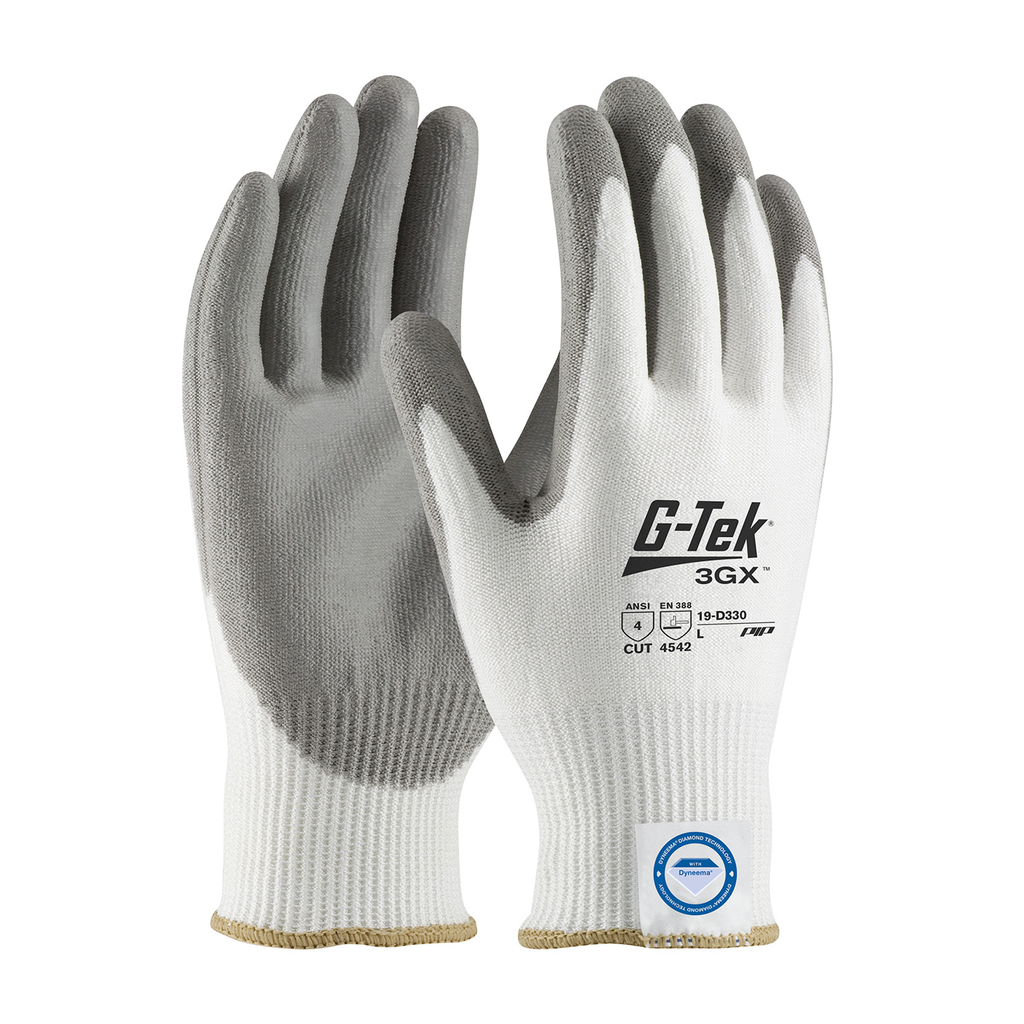 PIP 19-D330/M Medium Gray Polyurethane Palm and Fingertip Coated Knit Protective Gloves