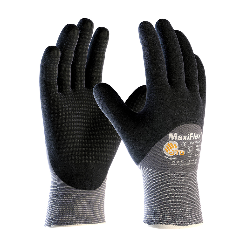 PIP 34-845/L Large Black Nitrile Micro Foam Palm Full Finger and Knuckle Coated Knit Protective Gloves