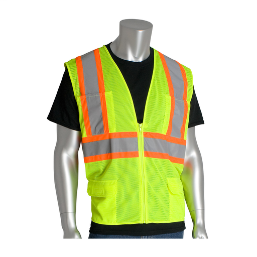 Mayer-ANSI Type R Class 2 Two-Tone Six Pocket Mesh Vest, 2XL, Hi-Vis Yellow-1