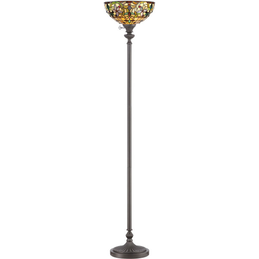 """QUO TF878UVB VINTAGE BRONZE/TIFFANY 70"""" TORCHIERE LAMP 150W MED 3-WAY"""