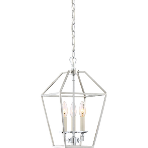 QUO AVY5203PK AVIARY - PK POLISHED NICKEL FINISH, CAGE CHANDELIER W/3 LIGHTS