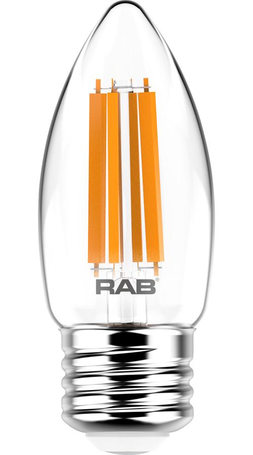RAB LIGHTING Filament B11 5.5W 60EQ 500lm E26 CRI90 2700K Dim Clear