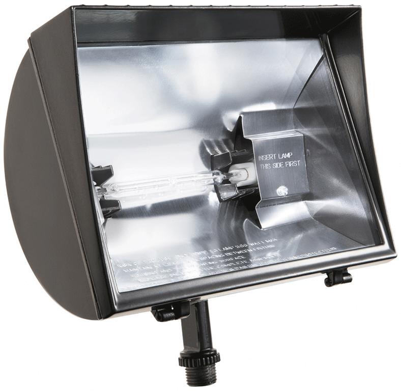 "RAB QF500F 500 W 120 Volt 8-3/8 x 6-1/2"" Bronze Die-Cast Aluminum Quartz Floodlight Fixture"