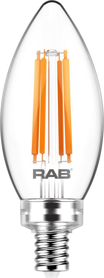 RAB LIGHTING Filament B11 5.5W 60EQ 500lm E12 CRI90 2700K Dim Clear