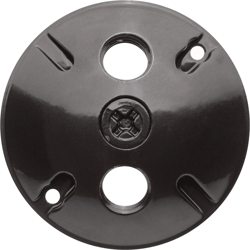 "RAB C103A 4-1/2"" 3-Hole Round Bronze Die-Cast Aluminum Weatherproof Cover"