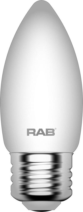 RAB LIGHTING Filament B11 5.5W 60EQ 500lm E26 CRI90 2700K Dim Frosted