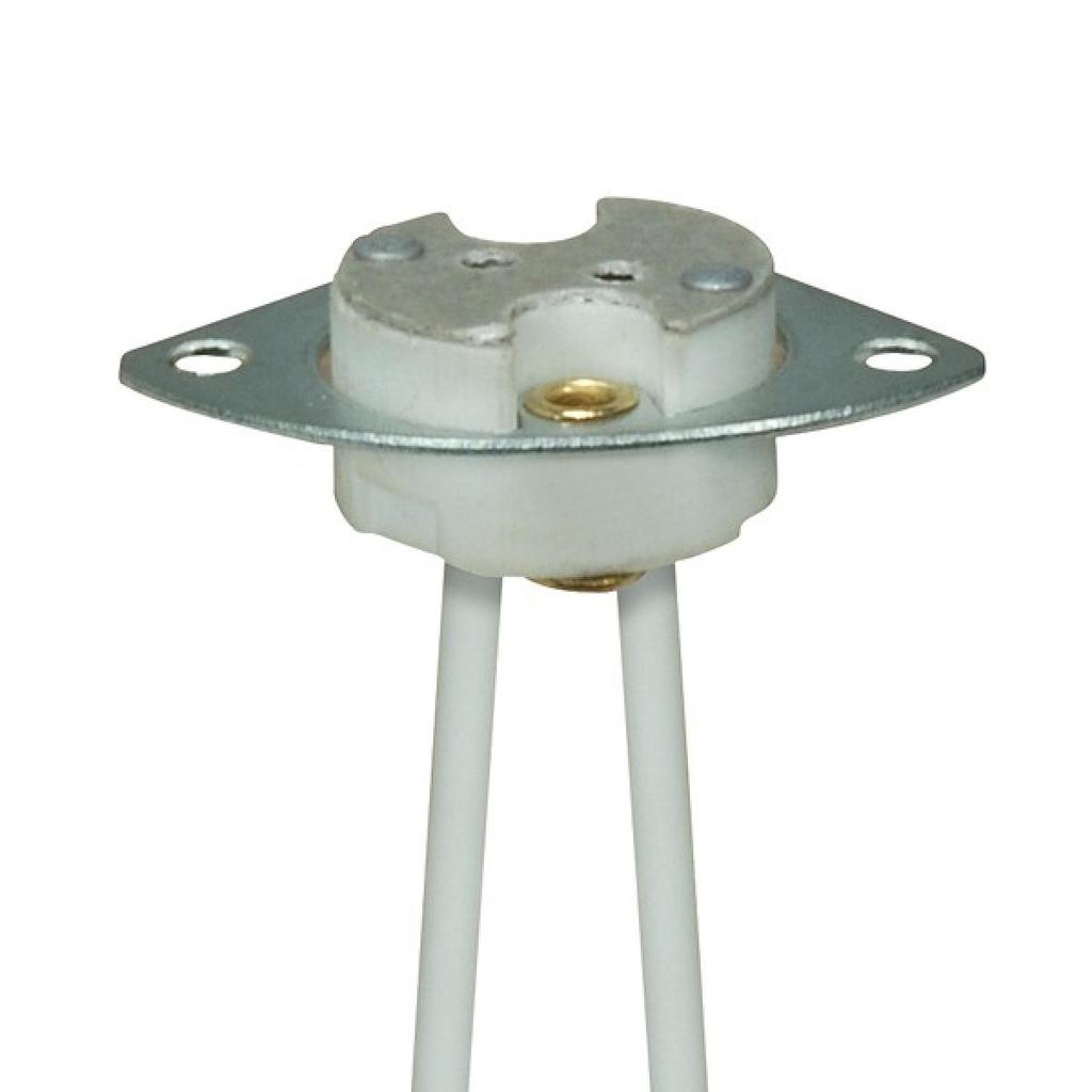 Mayer-Halogen Socket w/Metal Plate & 2 Mounting Holes GX5.3 Base-1