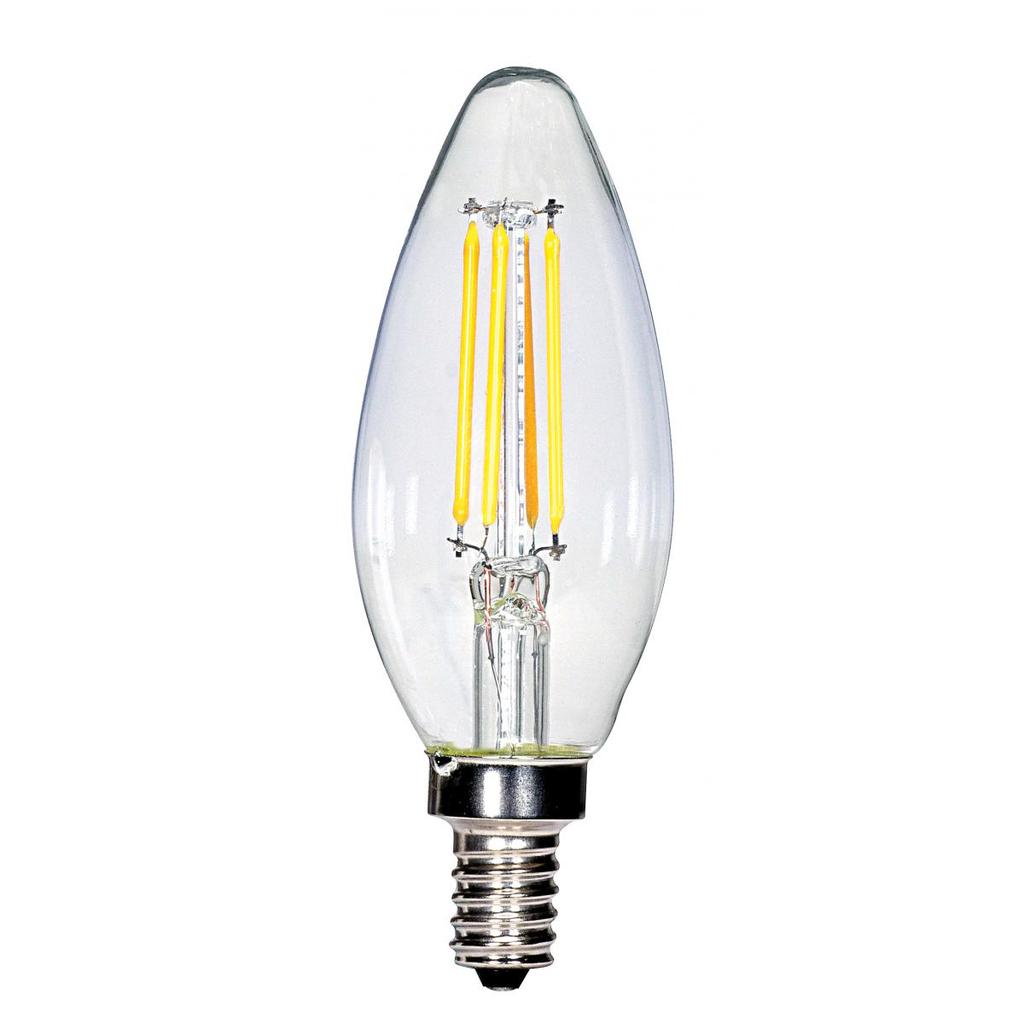 SAT S28613 4 WATT C11 LED; CLEAR;CANDELABRA BASE; 2700K; 350 LUMENS;120 VOLTS; CARDED