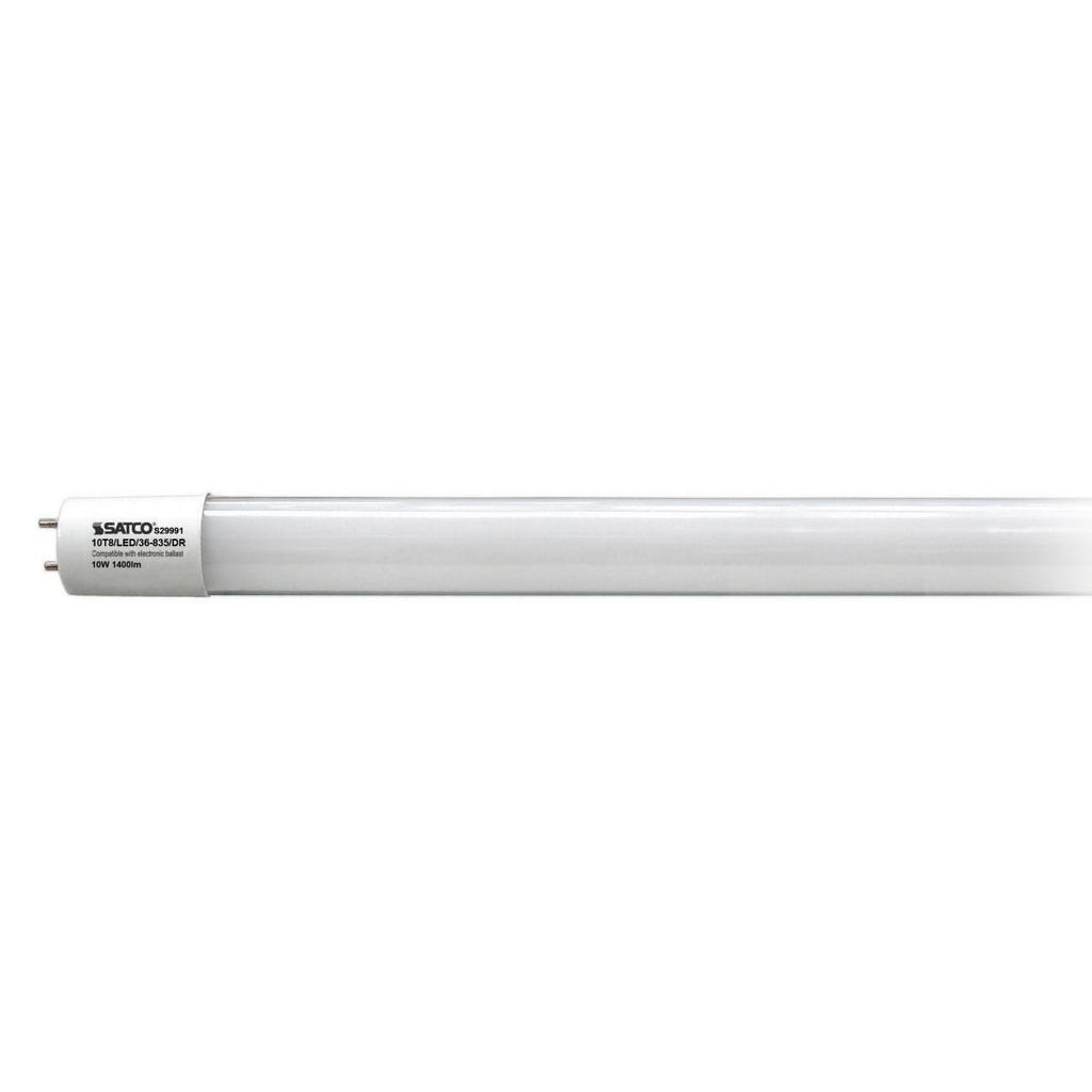 10 Watt T8 LED, 3500K, Medium Bi Pin base, 50000 Average rated hours, 1400 Lumens, Type A, Ballast dependent