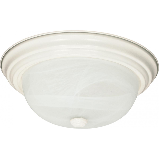 "2 Light - 13"" Flush with Alabaster Glass - Textured White Finish"