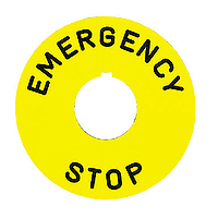 SQD 9001KN9330 60MM CIRCLE 'EMERGENCY STOP' YELLOW PUSHBUTTON LEGEND PLATE