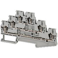 Linergy passthrough terminal block - 2.5mm² 20A three-level 3x3 spring - grey