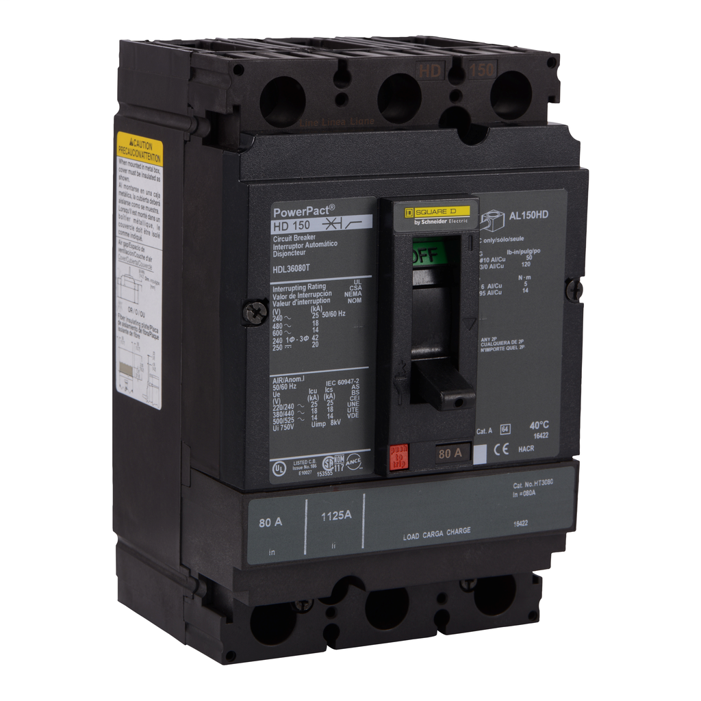 SQUARE D PowerPact H-Frame Molded Case Circuit Breakers Unit Mount - HDL36080T
