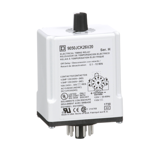 SQD 9050JCK26V20 10A 240V AC TIMER RELAY OPTIONS